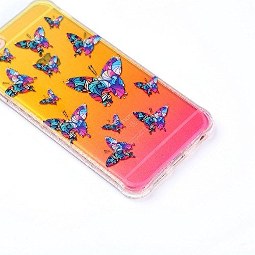Paillette Coque pour iPhone 6/6S,iPhone 6S Coque en Silicone Glitter, iPhone 6S Silicone Coque fleurs de cerisier roses Housse Transparent Etui Gel Slim Case Soft Gel Cover, Ukayfe Etui de Protection  Papillon coloré