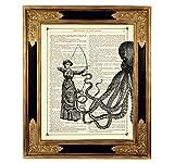 Steampunk Dame vs Oktopus Kraken Bogenschießen Kunstdruck auf viktorianischer Buchseite Girlpower Geschenk Kleid Bild Poster ungerahmt