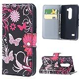 LG Leon 4G LTE Cover - Rosa Schmetterling Muster Flip Cover