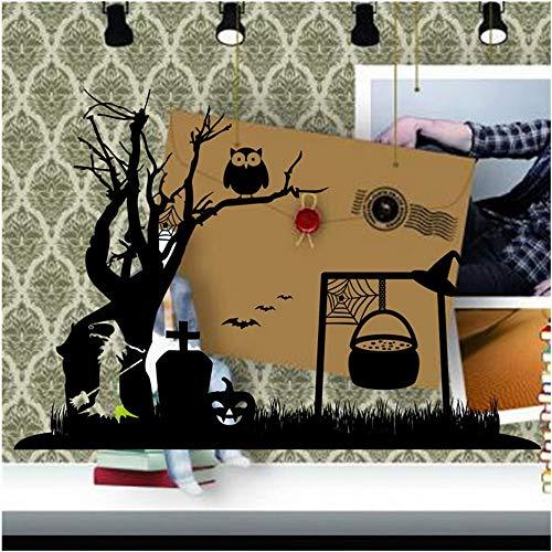 Shuyinju 85 * 58 Cm Halloween Geschenk Wohnkultur Eule Kürbis Friedhof Muster Home Zimmer Wandaufkleber Wand Kunst Pvc Wandtattoos Kinderzimmer Dekor
