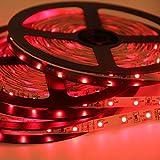 Signcomplex Bande LED flexible 3528 SMD Ruban LED avec ruban autocollant 3M 5m une bobine 12V DC (Rouge)