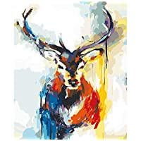 ZHAOSHOP Oil painting set by numbers Colorful Deer Paint Number Paintings Modern Wall Art Picture Acrylic Paint Unique Living Room Decoration Artwork Frameless 40X50CM dfkdfd1050