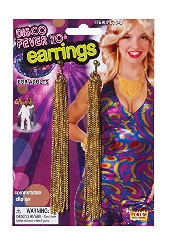 Forum Novelties Erwachsene Damen 70er Jahre Disco Fever Gold Kette Disco Ohrringe Kostüm Zubehör (Herren 70er Jahre Kostüm Schmuck)