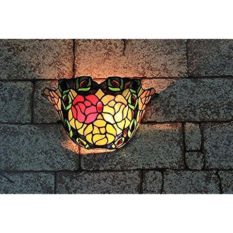 10 pulgadas de la vendimia Pastoral del vitral de Tiffany Rose romántica lámpara de pared Pasillo aplique de la pared de la lámpara Fixture