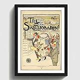 BIG Box Art Vintage Travel Poster von Schweden Schwarz