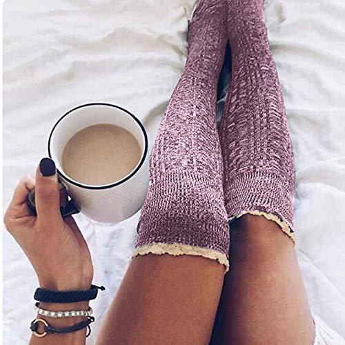 Preisvergleich Produktbild Swallowuk Damen Overknees Socken Strümpfe Strumpfhosen Warm Winter Stricken Kniestrümpfe Elastisch Sportsocken (Rot)