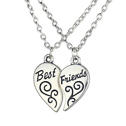 Contever® 1 Set of 2pcs Best Friends BFF Split Heart Pendant Necklace ,Chain Length: about 52cm