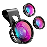VicTsing 3 in 1 Clip On Fisheye Fischauge Objektiv, smartphone linsen set(180°Fisheye...