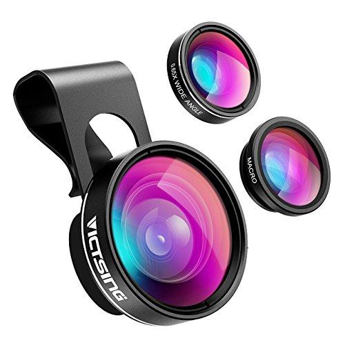 VICTSING 3 in 1 Clip On Fisheye Fischauge Objektiv, smartphone linsen set(180°Fisheye Objektiv, 0.65X Weitwinkelobjektiv, 10X Makroobjektiv),Kamera Objektiv Kits für iPhone 7 6 6S 6S Plus&die meisten