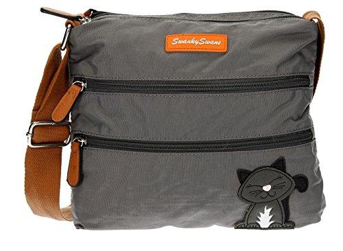 Swankyswans Riley Cat Designer Borse A Spalla Grigio Scuro