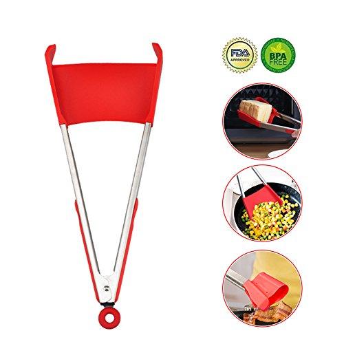 Manfore 2 in 1 Zange und Spatel/Servierzange/Silikon Küchenzange, Antihaftbeschichtet, HitzebestäNdig, Perfekt für Kochen, Servieren, Grill, Buffet, Salat