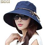 SIGGI schwarzblauer Baumwolle faltbarer Sommerhut mit Sonnen Schutz für Damen Sonnenhut Fischerhut breite Krempe