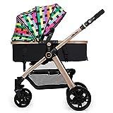 Carrozzina ERRU- Passeggino/bidirezionale può essere seduti Ultra-Light pieghevole a quattro ruote bambino Trolley Champagne Oro Colore Veicolo fuoristrada leggero con tenda da sole (Colore : A)