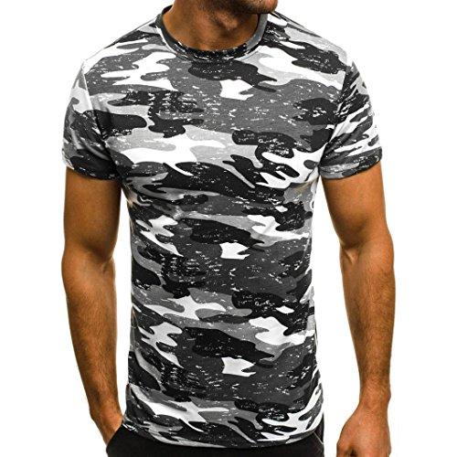 Preisvergleich Produktbild Dragon868 Herren / Jugend T-Shirt Kurzarmshirt Muskel Slim Casual Fit Camouflage Bluse Tops (Schwarz,  L2)