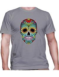 T-shirt para hombre con la impresión del Green Calavera With Beautiful Ornaments Illustration .