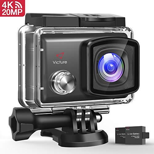 Victure Action Cam 4K 20MP WiFi Touch Screen Ultra Full HD 30 Meters Unterwasser Kamera Einstellbare 170°Fischaugen-Linse EIS Sports Kamera 2×1350mAh Ersatzbatterien and Halterungs-Kit