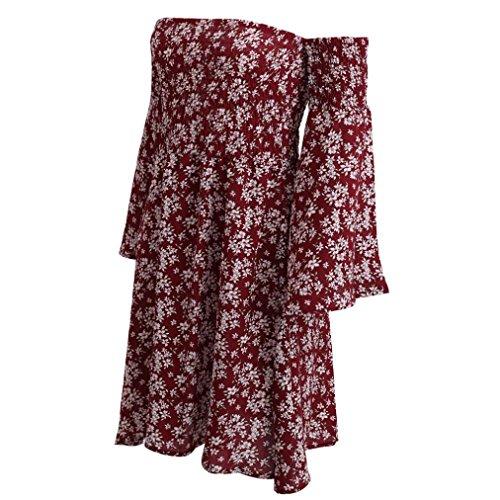 Sommerkleider VENMO Damen Weg von der Schulter Sommer Strand Abendkleid kurz Abendkleid Rot