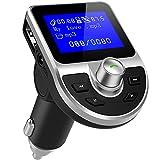 Trasmettitore FM Bluetooth DeFe Trasmettitore Bluetooth Radio Adapter Vivavoce Car Kit Per Bluetooth con 1.44 Pollici Schermo, Lettore MP3 Auto Supporta Scheda TF, USB Port, U Disk, AUX (Nero)