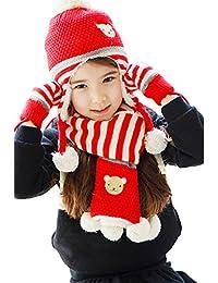 Bigood 3 Pièces Packs Bonnet Echarpe Gants Enfant Chapeau Ours Cache Oreilles Cou Hiver Anniversaire