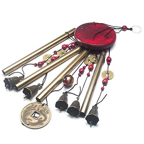 Windspiel, Bronze, 4 Metall-Zylinder, 5 Glocken, 60cm lang, für Garten, Ornament für den Außenbereich - 2