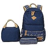 Schulrucksack für Teen Mädchen mit Lunch Box Federmäppchen, 3 in 1 Leinwand Student Book Bag Set (Blau)