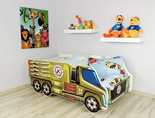 Moleo Autobett Kinderbett Juniorbett in LKW Optik mit Matratze und kleinem Kissen (140x70). Praktisches und bequemes Bett für Ihr Kind.