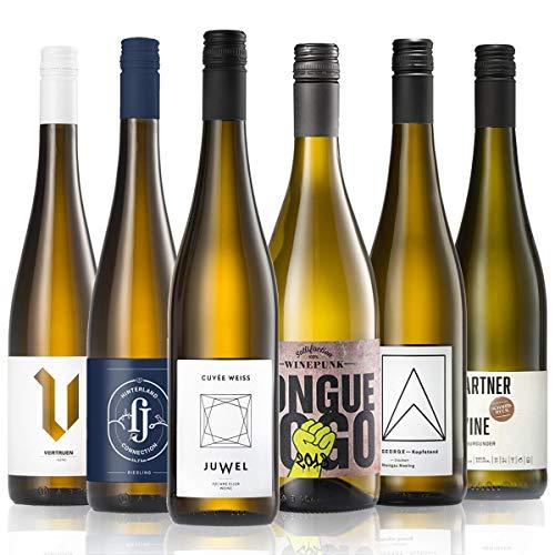 GEILE WEINE Weinpaket Weißwein (6 x 0,75) Probierpaket mit Weisswein von Winzern aus Deutschland...