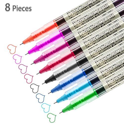 8 pezzi penne a sfera per rotolamento 0. 5 mm penna a sfera in inchiostro liquido per penne a punta fine, 8 colori