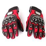 Motorrad Sport Handschuhe - PRO-BIKER 1 Paar Ergonomisches Design Antirutsch 3D Hartschalen Schutzausruestung Motorrad Sport Racing Fahrrad Reiten Radfahren Handschuhe - Rot - L