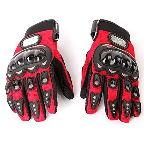 Motorrad Sport Handschuhe - PRO-BIKER 1 Paar Ergonomisches Design Antirutsch 3D Hartschalen Schutzausruestung Motorrad Sport Racing Fahrrad Reiten Radfahren Handschuhe - Rot - XL