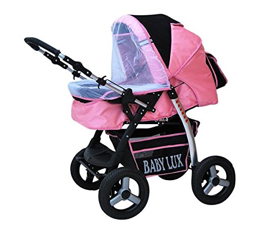 Lux4Kids Magnum Pram & Pushchair (raincover, mosquito net, cup holder, changing pad) 66 Beige & Diamonds  Buggy accessories - Offer all included - 3 free items - More about www.youtube.com/Lux4Kids Solid steel construction, adjustable handlebar height, hood / hood adjustable, buggy converts to pram. Made in EU (DIN EN1888 / 2005) 8
