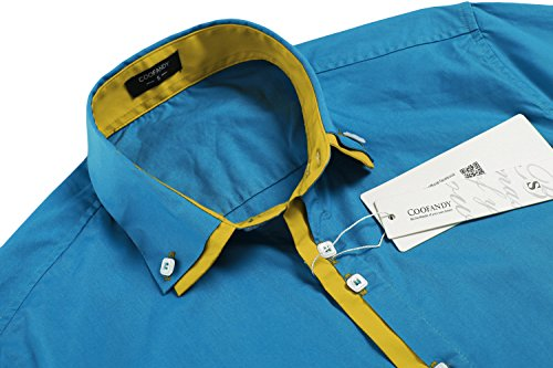 Coofandy Chemise Homme Manche Longue Coton Slim Fit Casual Col Contrasté Boutonné Taille S-XXXL Bleu (Azur)