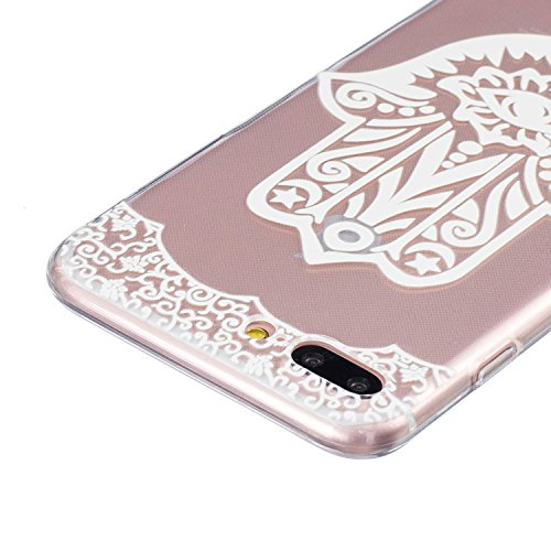 Felfy Coque pour iPhone 7 Plus,iPhone 7 Plus Case Ultra Mince Slim Silicone Transparent Souple Motif Coque Slim Soft Etui Housse Case Gel Protective Cover Totems Elephant Campanula plume Motif de Fleu Motif 25