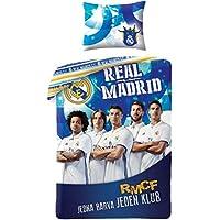 NPZ Funda de edredón Real Madrid 140 x200 cm 1 Cama Individual 100% algodón  Nouvelle be0c9136dd8
