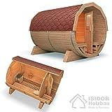 ISIDOR Fasssauna Premium Saunafass Tonnensauna Außensauna Gartensauna 3m mit HARVIA BC80 (Bitumenschindeln rot)