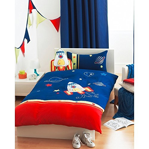 Riva Home Kids Rocket Applique Embroidered Duvet Cover Set, Blue, Single by Riva Home - Blue Single Duvet