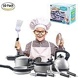 Waroomss 10 Stück Geschirr Spielzeug, Pretend Play Küche spielen Essen Töpfe und Pfannen und Tea Party Set Küche Vorgeben Kochen Kochgeschirr Spielset für Kinder