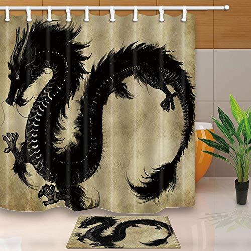 BuEnn Black Dragon Flying Ink & Wash Malerei 71X71in Mildew beständiger Polyester-Duschvorhanganzug mit 15.7x23.7 Zoll Flanell Rutschfeste Boden-Fußmatte Badteppiche -