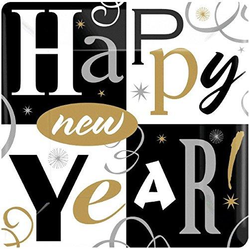 amscan Happy New Year Block Party-Teller, quadratisch, groß, 25,4 cm, 8 Stück Christmas Plate Block