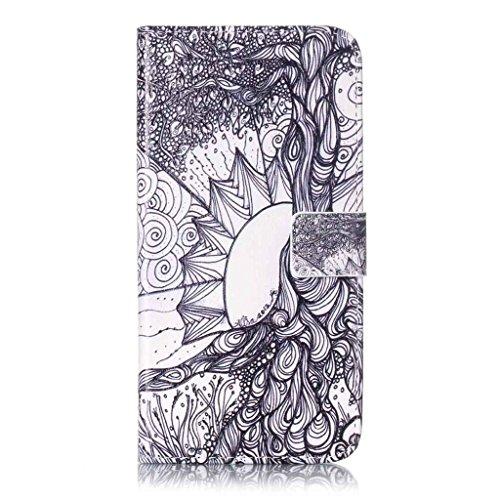Uming® Il modello della stampa della custodia per armi variopinta della copertura Holster Cover Case ( Black lips - per IPhone 7 7G IPhone7G IPhone7 ) Flip-artificiale in pelle con staffa supporto del Lotus Sketch