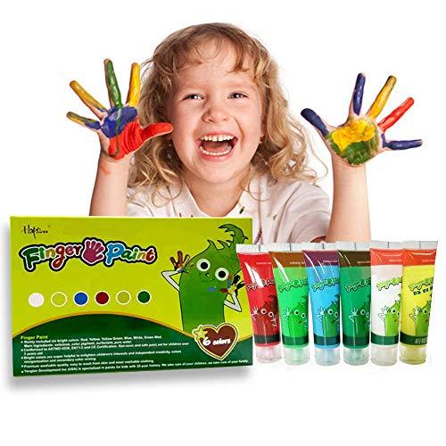 Magicdo Kinder Fingerfarben 6 Farben waschbar und ungiftig Kleinkind Paint Set, natürliche Wasser-basierte und umweltfreundliche helle Malerei für Kinder DIY, Kunsthandwerk Malerei (6-er Set) (10) (Malen, Waschbar Ist-tempera)