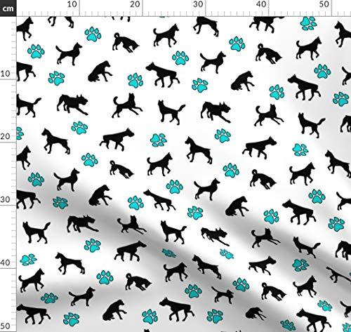Hund, Pfoten, Nahtlos, Haustiere, Hunderasse, Hunde Stoff Stoffe - Individuell Bedruckt von Spoonflower - Design von Thinlinetextiles Gedruckt auf Bio Baumwollsatin -