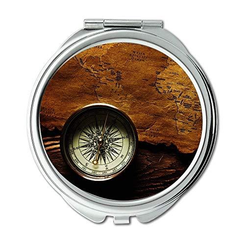 Spiegel, Schminkspiegel, Map Wallpaper Karte eine Route, Taschenspiegel, Tragbare Spiegel