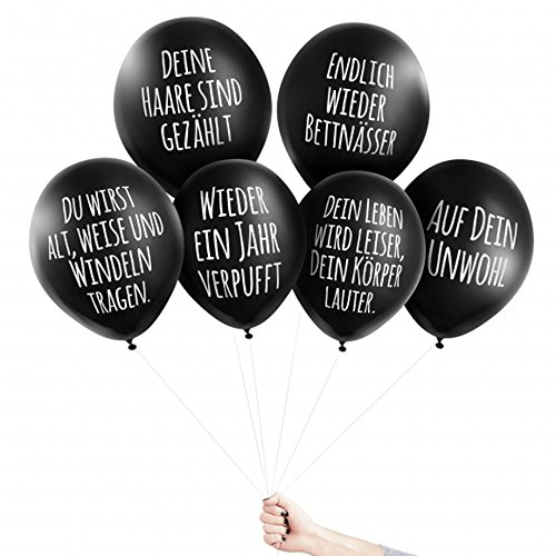Pechkeks Anti-Party-Ballons, schwarze Luftballons mit schrägen Sprüchen, Glückwünschchen-Set, -