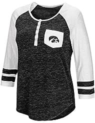 "Iowa Hawkeyes NCAA Women's ""Inconceivable"" 3/4 Sleeve Henley Shirt Chemise"