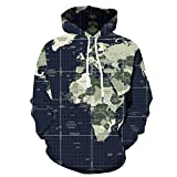 LIMITA Herren 3D Karte gedruckt Jacke Langarm Kapuzenjacke Lässige Mantel Bluse Tops 3D Druck Hoodie