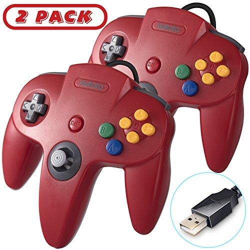 2Stück kiwitatá Classic 64N64USB-Controller, N64Bit Retro USB Wired Game Controller Gamepad für Windows PC & Mac Rot