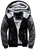 moxishop Herren Sweatjacke Kapuzen Jacke Hoodie Sweater Pullover Sweatshirt Plus Dicken Samt Kapuzenjacke Winterjacke (dew02-Schwarz, Small)