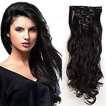 """22""""(55cm) Extensiones de Cabello Clip - Double Weft(Muy Grueso) - 8 Piezas Extensiones Sintéticas Rizadas de Pelo Natural - Hair Extensions para mujeres(180g,Negro Natural)"""