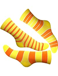 Loonysocks, 3 Pair of Colorful Cotton Rich Women/ Ladies & Girls Yellow Orange Mix Socks
